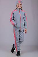 Теплый детский спортивный костюм для девочки Training (светло-серый)