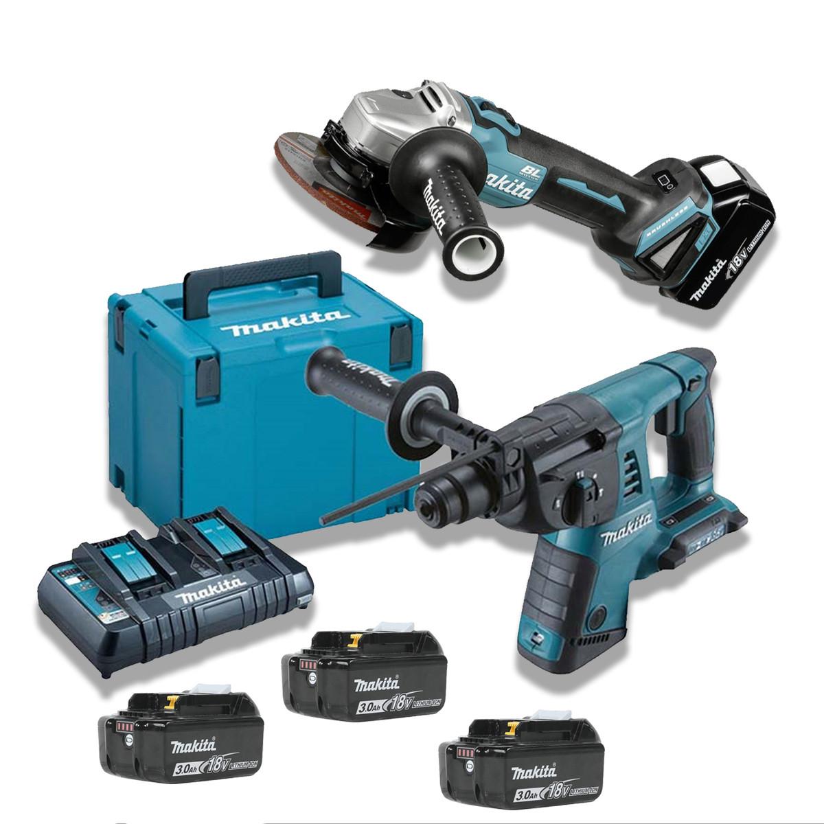 Набор инструментов Makita DLXMUA264 (DHR263Z + BL1830Bx4 +DC18RD + DGA504Z+ кейс Makpac 4)