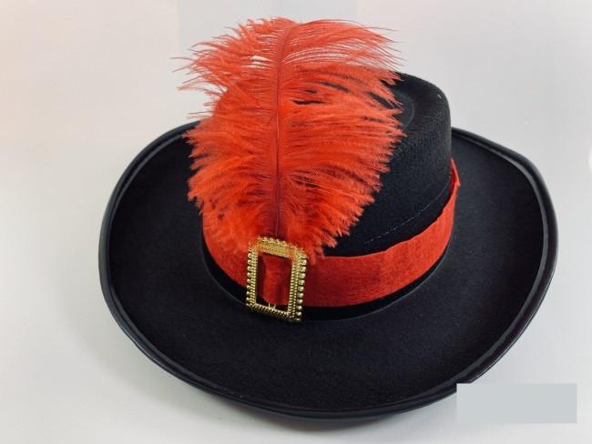Шляпа мушкетера маленькая черная
