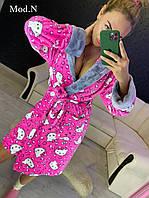 Женский плюшевый халат теплый с капюшоном короткий розовый Кити, фото 1