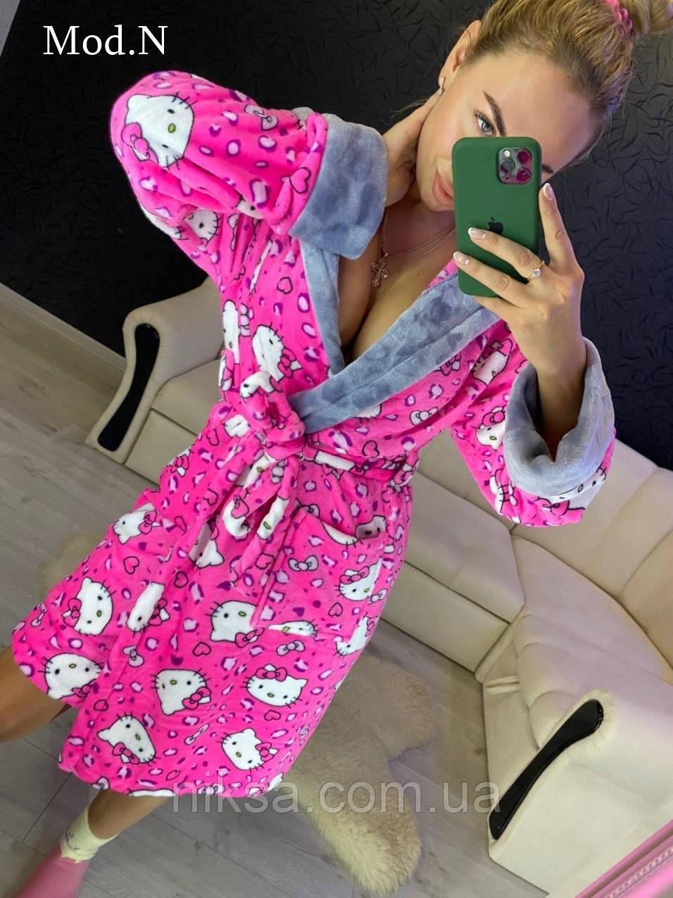 Женский плюшевый халат теплый с капюшоном короткий розовый Кити