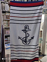 """Пляжное полотенце 75-150 см велюр-махра. Турция, морская тематика """"Якорь""""2"""