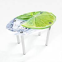 Стол обеденный на хромированных ножках Овальный Ice lime