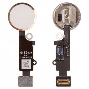 Шлейф Apple iPhone 7, iPhone 7 Plus с кнопкой меню (Home) и золотистой пластиковой накладкой, фото 2