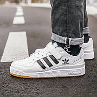 Мужские кроссовки Adidas Forum White Black, белые с черным, кожаные, в стиле Адидас Форум, код IN-375 43
