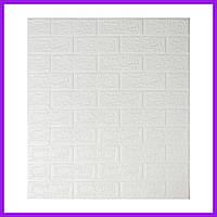 Самоклеящиеся декоративные 3D панели под кирпич белый 700x770x5мм. Декоративная 3д панель под кирпич