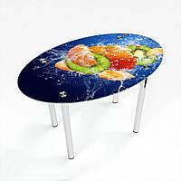 Стол обеденный на хромированных ножках Овальный Sweet Mix