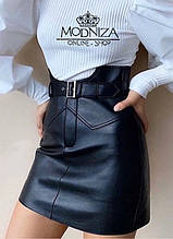 """Модная кожаная юбка мини с завышенной талией """"Lester"""""""