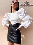 """Модная кожаная юбка мини с завышенной талией """"Lester"""", фото 2"""