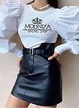 """Модная кожаная юбка мини с завышенной талией """"Lester"""", фото 3"""