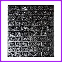 Самоклеющаяся декоративная 3D панель под черный кирпич 700x770x7мм Декоративная 3д панель под кирпич панель 3д