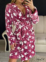Женский плюшевый халат теплый с капюшоном короткий Фреза, фото 1