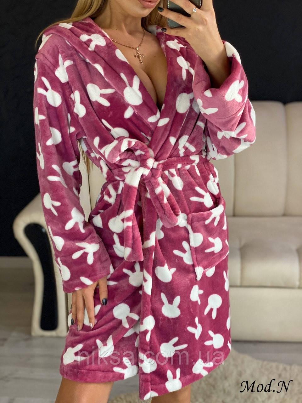 Женский плюшевый халат теплый с капюшоном короткий Фреза