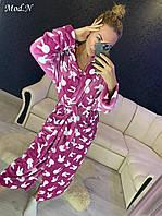 Женский  плюшевый халат с капюшоном теплый Фреза, фото 1