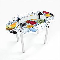 Стол обеденный на хромированных ножках Овальный с полкой Berry Mix