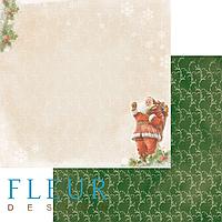 """Лист бумаги для скрапбукинга """"Дед мороз"""", коллекция """"Новогодняя ночь"""", 30х30, плотность 190 гр."""