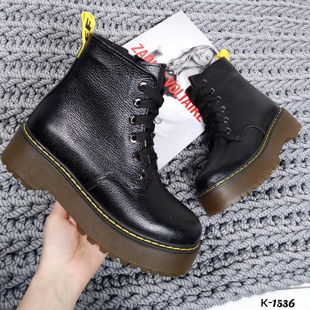 Женские Ботинки натуральная кожа толстой подошве 16\к-1536