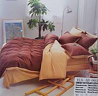 Комплект постельного белья  двуспальный Евро (4 наволочки) Сатин коричневый с бежевымм