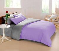Комплект постельного белья  двуспальный Евро (4 наволочки) Сатин сиреневый с серым