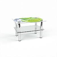 Журнальный стол прямоугольный с полкой Ice lime стеклянный