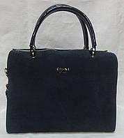 Женская сумка из лака и замша. Синий