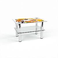 Журнальный стол прямоугольный с полкой Nice breakfast стеклянный