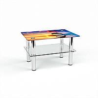 Журнальный стол прямоугольный с полкой Ocean стеклянный