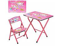 Детский столик складной и стульчиком Hello Kitty. A19-HK