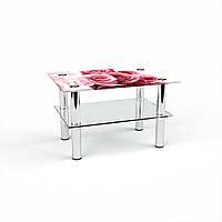 Журнальный стол прямоугольный с полкой Pink Roses стеклянный