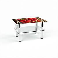 Журнальный стол прямоугольный с полкой Strawberry стеклянный