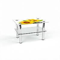 Журнальный стол прямоугольный с полкой Sunflower стеклянный