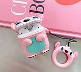 Мультяшный чехол Стич розовый IQEA для наушников Apple AirPods TWS i10 i12 i13 Bluetooth Silicone Case, фото 2