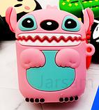 Мультяшный чехол Стич розовый IQEA для наушников Apple AirPods TWS i10 i12 i13 Bluetooth Silicone Case, фото 3