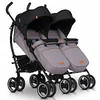 Прогулочная детская коляска для двойни EasyGo Comfort Duo 2019, серая (9318)