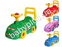 Каталка с пищалкой на руле. Цвет розовый, желтый, синий и зеленый. Технок 2483