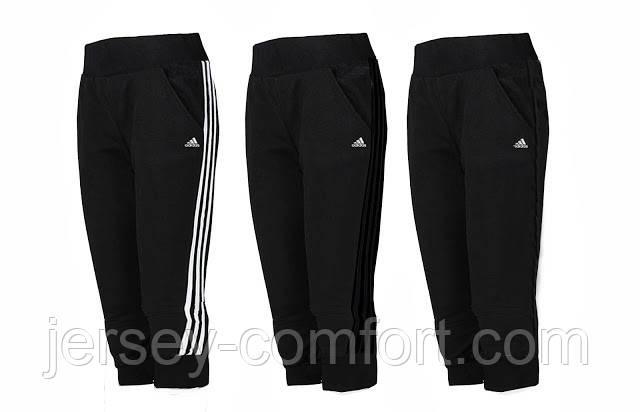 Капри спортивные женские (эластан) Черные. Мод. 3022