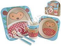 """Набор детской бамбуковой посуды 5 предметов Stenson """"Ёжик"""" (2 тарелки, вилка, ложка, стакан)"""