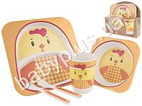 """Набор детской бамбуковой посуды 5 предметов Stenson """"Петушок"""" (2 тарелки, вилка, ложка, стакан)"""