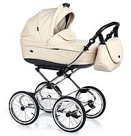 Классическая детская коляска 2 в 1 Roan Emma/кожа, бежевая (6046)