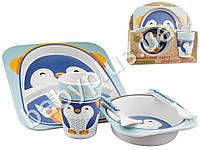 """Набор детской бамбуковой посуды 5 предметов Stenson """"Пингвин"""" (тарелки, вилка, ложка, стакан)"""