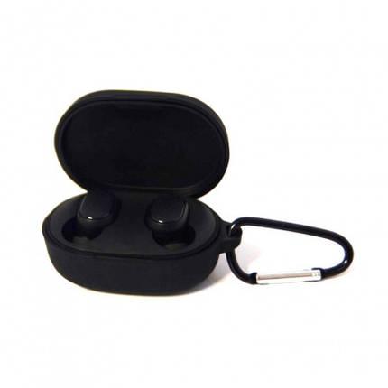 Силіконовий чохол з карабіном для навушників Xiaomi AirDots Black Чорний, фото 2