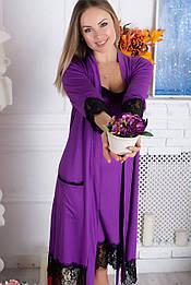 Комплект ночная рубашка + халат К918н Фиолетовый