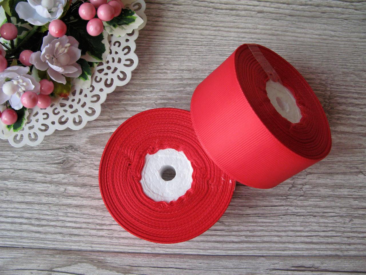 Репсова стрічка 4 см червоний, бобіна 18 м - 51 грн