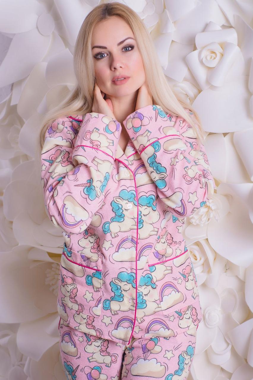 Пижама фланелевая MiaNaGreen П307 Единороги на розовом