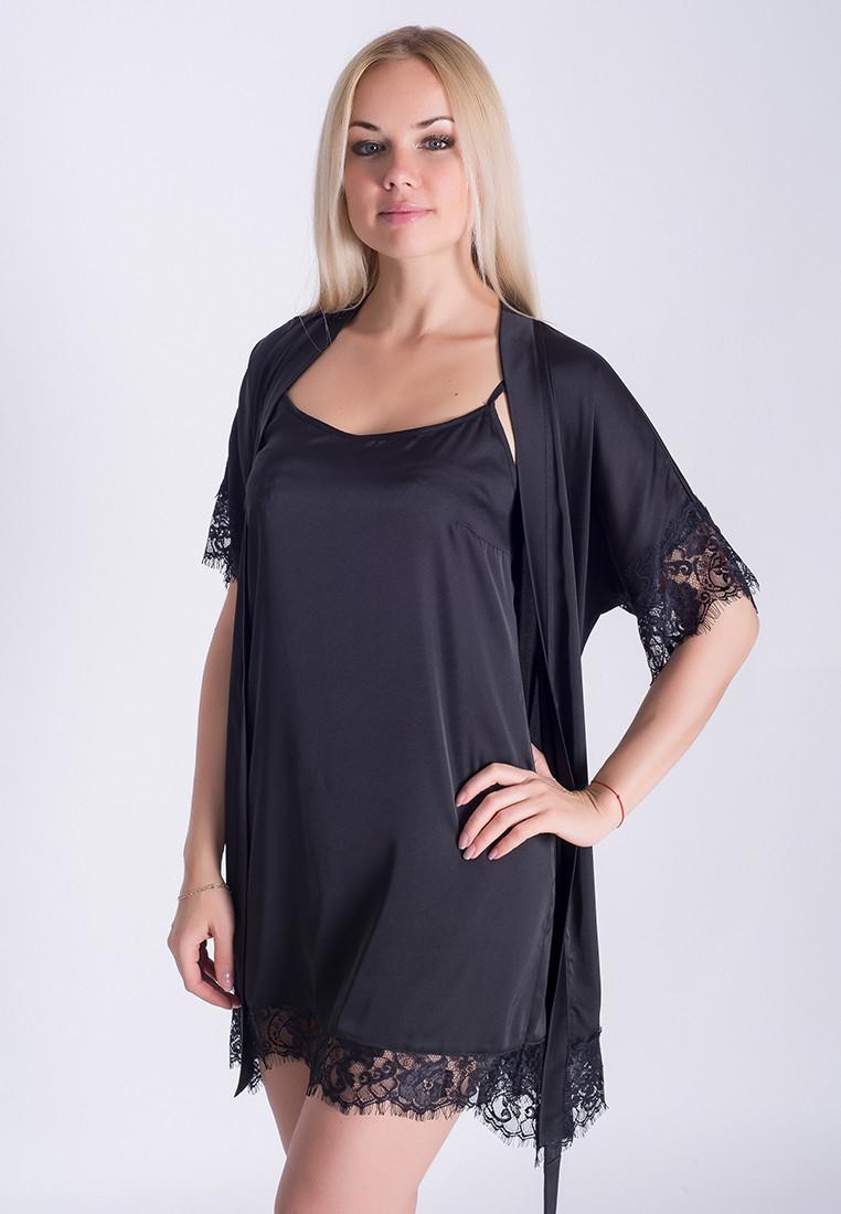 Ночная рубашка + халат MiaNaGreen К031н Черный