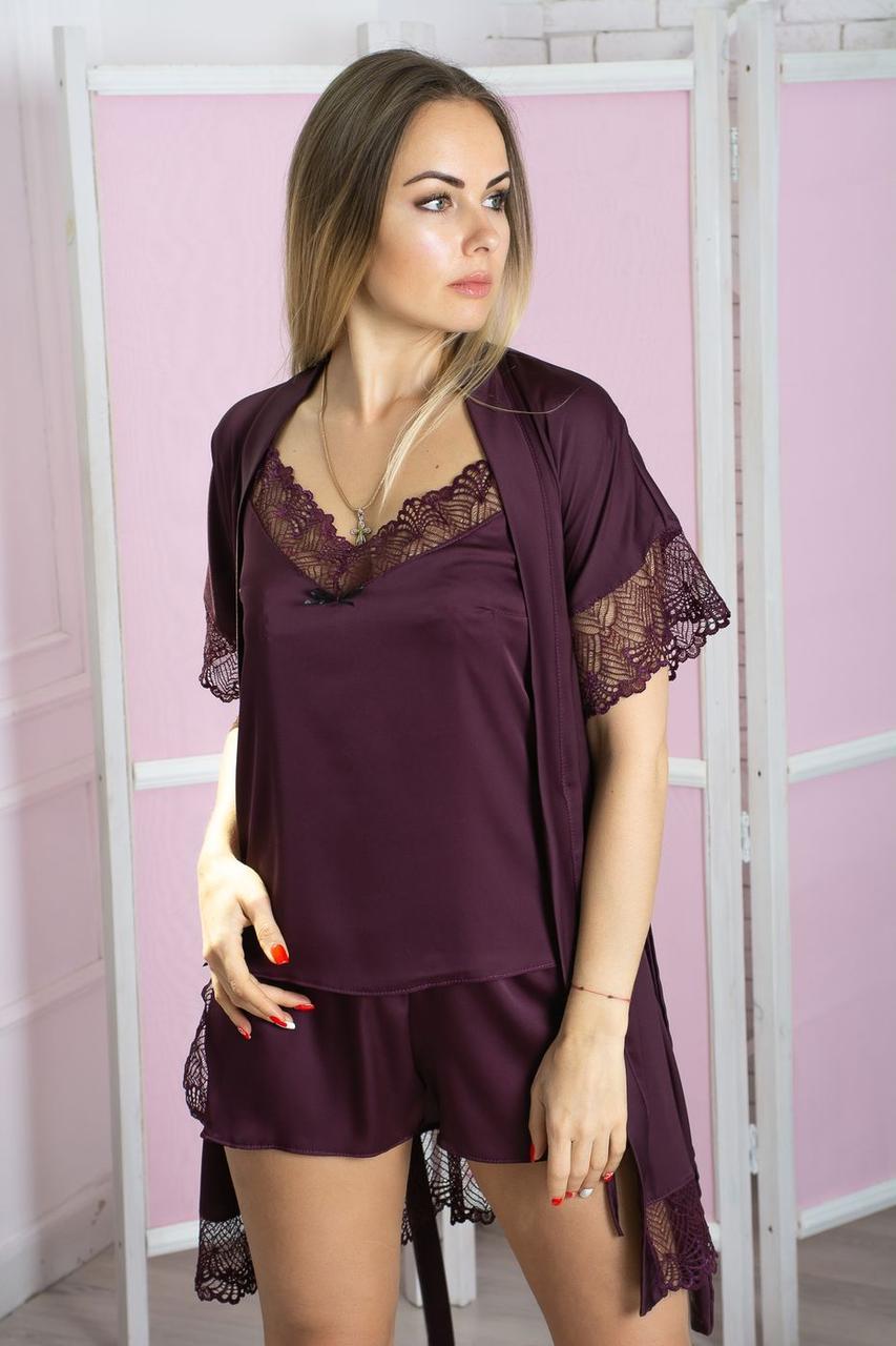 Комплект пижама + халат К503п Сливовый