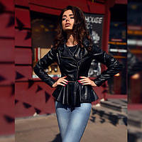 Женская куртка кожзам со съемной баской в расцветках 08139