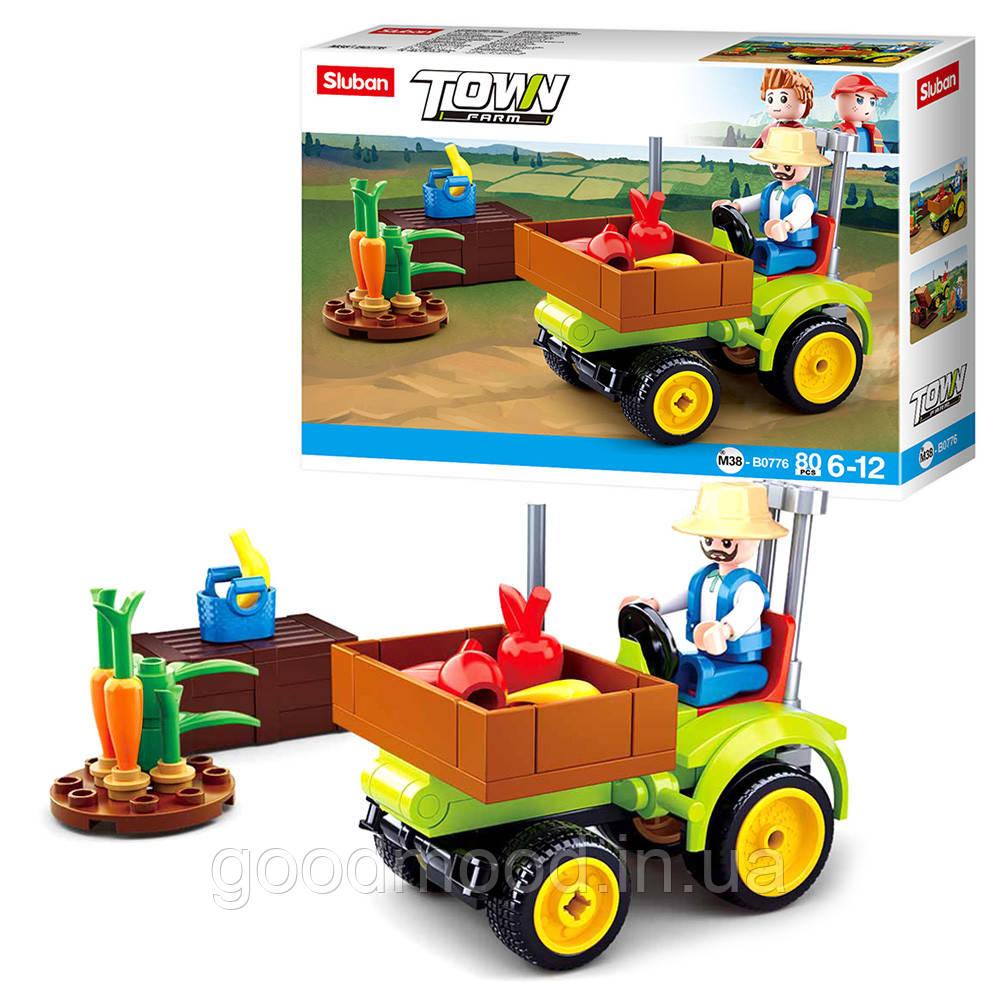 """Конструктор SLUBAN M38-B0776 """"Town"""": трактор, фігурка, 80 дет."""