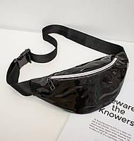 Блестящая женская сумка бананка Голограмма 5, 1 Черная, фото 1