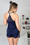 Пижама шелковая П811х Синий, фото 2